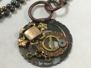 Handmade Steampunk Necklace Recycled Vintage GF Pocket Watch FOB Parts OOAK