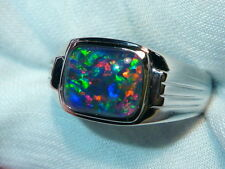 Mens Opal Ring Sterling Silver, Natural Opal Triplet. 10x8mm Rectangle. 060593