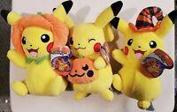 "8"" Pokemon 2020 HALLOWEEN PIKACHU Stuffed Plush SET of 3 Pumpkin Witch Hat NWT"