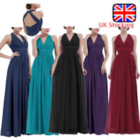 UK Ladies V Neck Bridesmaid Long Evening Party Prom BallGown Cocktail Dress Sexy