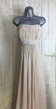 KELSEY ROSE UK22 Strapless Latte Draped Beaded Bridesmaid/Evening/Prom Gown NEW