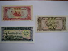 Laos Banknotes 10, 20 and 100 kip. Pathet Lao Govenment 1970s