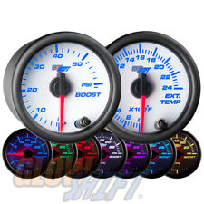 GlowShift 52mm White 7 Color 60psi Boost + 2400F EGT Pyrometer Diesel Gauge Set