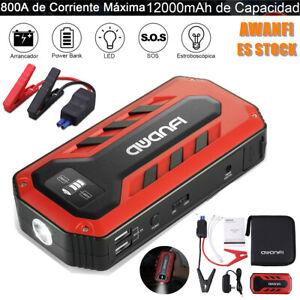 800A 12000mAh 12V  Arrancador de Coche Jump Starter Booster LED Batería Cargador