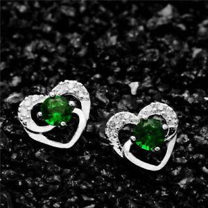 3Ct Emerald Heart Shape Engagement & Wedding Stud Earrings 14K White Gold Finish