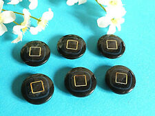 """851B Chequerboard Buttons """" Square Gold """" Blue Night And Golden Lot 6 Ép. 1970"""