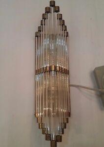 Antique Vintage Old Art Deco Brass & Glass Rod Ship Light Wall Sconces Lamp