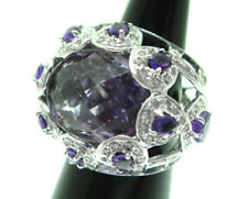 1.62ct NATURAL ROUND DIAMOND 14K WHITE GOLD AMETHYST COCKTAIL RING SIZE 7