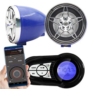 Motorcycle Bluetooth Audio Sound System MP3 Radio Stereo Speakers w/ USB Charger