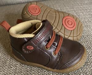 STRIDE RITE Remington Infant Toddler Boy's 3 Brown Memory Foam Hiking Boots Shoe
