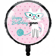PURRFECT PARTY 45CM FOIL BALLOON HAPPY BIRTHDAY PARTY DECORATIONS CAT