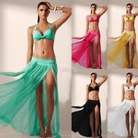 Sexy Bikini Cover Up Swimsuit Sheer Beach Maxi Skirt Veil Sarong Swimwear Dress