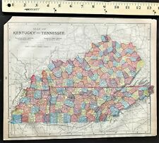 Authentic 1889 Original Color Map VIRGINA - KENTUCKY - TENNESSEE  2-Sided Rare