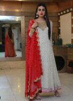 White Indian anarkali salwar kameez suit designer pakistani Indian ethnic wear