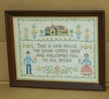 Vintage This Is Our House Cross Stitch Sampler Framed Under Glass