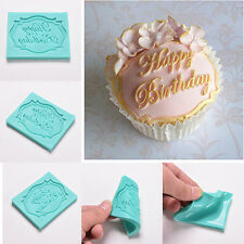 Happy Birthday Silicone Mould Cake Decor Lace Impression Mat Baking Mold FT