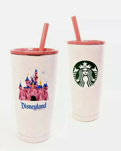 Disney Parks Disneyland Pink Castle Starbucks Cup With Straw New in Box