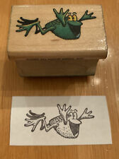 All Night Media Vintage Flying Frog Rubber Stamp Happy Jumping Excited Joyful