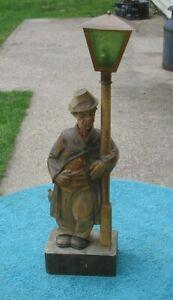 German Carved Whistler Automaton Hobo Drunk Lamp Post Music Box Karl Griesbaum?
