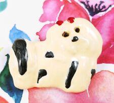 Enamel Red Bow Rhinestone Brooch Pin Pendant (W) Shih Tzu Show Dog White Black