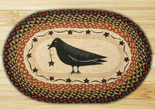 BRAIDED HAND STENCILED OVAL PATCH AREA RUG By EARTH RUGS--CROW AND STAR