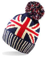 UNISEX MENS LADIES WINTER WARM UNION JACK GB FLAG KNIT BOBBLE BEANIE BOBBLE HAT