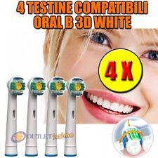4 TESTINE RICAMBIO PRO BRIGHT 3D WHITE COMPATIBILI ORAL B SPAZZOLINO ELETTRICO