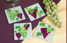 Wine & Grapes Drink Glass Coasters Set of 4 - Great Wine Decor!
