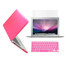 "3 in1 Rubberized HOT PINK Case for Macbook PRO 13"" + Keyboard Cover + LCD Screen"