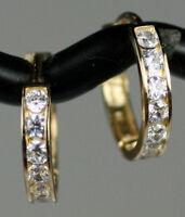 Solid 14K Yellow Gold CZ Huggies Hoop Earrings 11mm Small Channel Set Beauties!