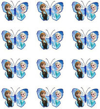 12 Disney Frozen Edible Butterfly Wafer Cupcake Cup Cake Topper Image SET 3
