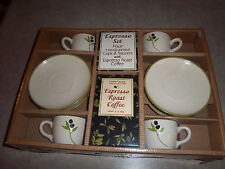 NEW - Espresso Set - 4 Handpainted Cups & Saucers w/Coffee - Tuscan Kitchen