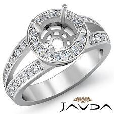 Diamond Engagement Ring Halo Setting Round Shape Semi Mount 18k White Gold 0.55C