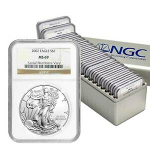 1986 - 2005 COMPLETE 20 COIN AMERICAN SILVER EAGLE SET NGC MS 69 #D