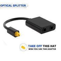 1 to 2 TosLink/Optical Digital Audio Splitter Adapter Fiber Cable Dual Port