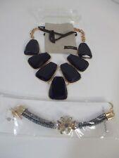 Lee Angel Blue Stone Bib Statement Necklace NIP 110 Banana Republic Bracelet NWT