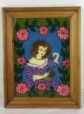 14x18 Framed Reverse Painting on Glass Lady Cherries Pink Flowers Purple Dress