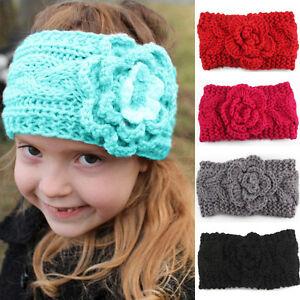 Baby Toddler Girls Winter Warm Crochet Knitted Flower Turban Headband Hair Band