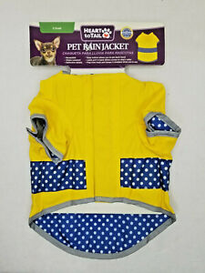 Reflective Raincoat for Dogs XSmall New With Hood Yellow and Blue Polka Dots