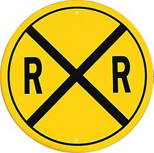 More details for railroad crossing round metal sign (ga)