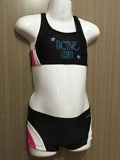 BNWT Girls Sz 7 Cherrylane Brand Cute Black/Pink Tankini Swim Suit Bathers Set