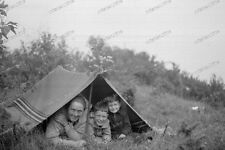 Vintage photo negativo - 1930-Young-cute-Boy - Teen-when camping with mom-4