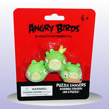 Angry Birds Puzzle Erasers - 3 X Green Pigs - Novelty Stationary Rubbers - NEW