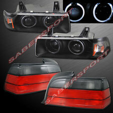 1992-1999 BMW E36 2DR COUPE & CONV HALO PROJECTOR HEADLIGHTS BLACK + TAIL LIGHTS