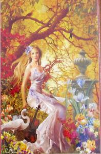 SunsOut Nene Thomas Lost Melody 1000 pc Panorama Jigsaw Puzzle Violin Swan