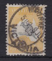 K432) Australia 5/- Grey & Yellow 1st wmk. Kangaroo, postally used