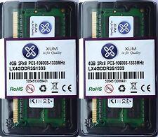 Nuevo Xum 8GB (2x4GB) DDR3-1333MHz PC3-10600 no ECC Memoria Ram Sodimm 204P Laptop
