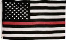 Thin Red Line Flag - 3X5 Foot with Embroidered Stars and Sewn Stripes - Black.