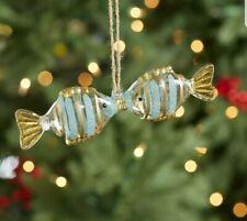 POTTERY BARN Kissing Fish Glass Ornament Coastal Nautical Christmas/ Valentine's