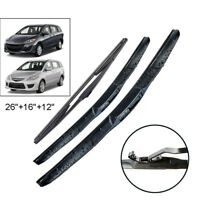 "3x Front Rear Windshield Wiper Blades Set 26""16""12"" For Mazda 5 MK2 MK3 05-17"